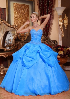 2014 Aqua Blue Puffy Sweetheart Appliques Quinceanera Dress with Pick-ups and Hand Made Flower
