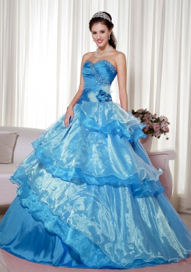 2014 Aqua Blue Puffy Sweetheart Quinceanera Dress with Beading and Hand Made Flower