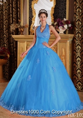 2014 Baby Blue Puffy Halter Appliques Tulle Quinceanera Dress with Beading