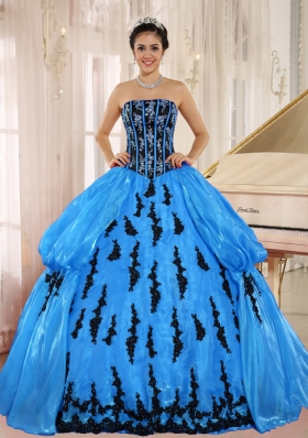 2014 Beautiful Quinceanera Dress in Aqua Blue with Embroidery and Pick-ups