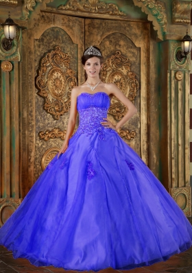 2014 Blue Puffy Sweetheart Appliques Quinceanera Dress with Beading