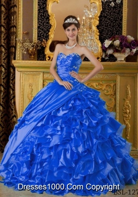 2014 Blue Puffy Sweetheart Appliques Quinceanera Dress with Ruffles