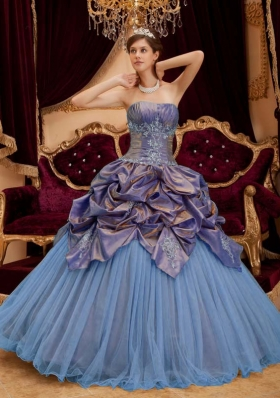 2014 Colourful Puffy Strapless Beading Quinceanera Dress with Pick-ups