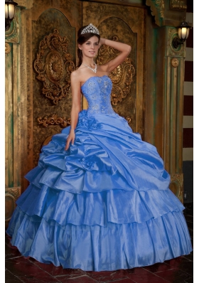 2014 Cute Aqua Blue Puffy Quinceanera Dress with Beading and Hand Made Flower
