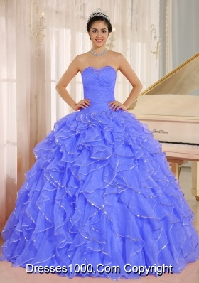 2014 Cute Quinceanera Dress with Ruffles and Beading in Blue Custom Made