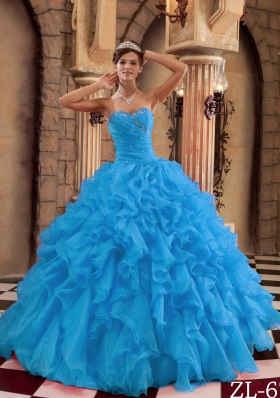 2014 Exclusive Aqua Blue Sweetheart Puffy Ruffles Quinceanera Dress with Beading