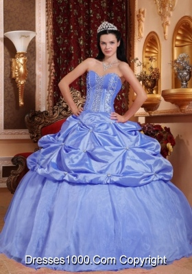 2014 Exclusive Blue Puffy Sweetheart Beading Quinceanera Dress with Pick-ups
