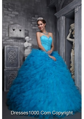 2014 Exclusive Sweetheart Beading and Ruffles Quinceanera Dress in Blue