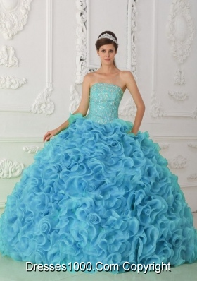 2014 Organza Puffy Strapless Beading Blue Quinceanera Dress with Ruffles