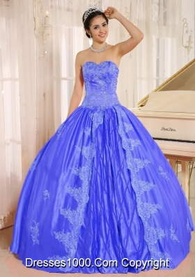 2014 Perfect Embroiery Quinceanera Dress With Beading Decorate in Blue Sweetheart