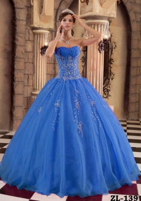 2014 Popular Blue Puffy Beading Quinceanera Dress with Appliques