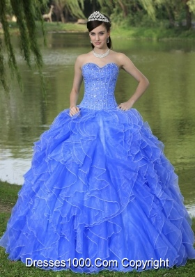 2014 Pretty Quinceanera Dress With Beading and Ruffles Layers over Sweetheart Blue Skirt