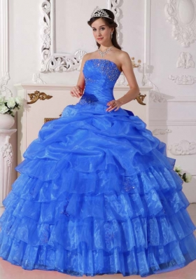 Affordable Blue Pick-ups Strapless for 2014 Appliques Quinceanera Dress with Ruffled Layers
