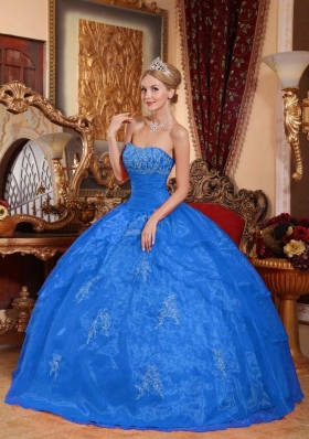 Affordable Blue Puffy Strapless for 2014 Appliques Quinceanera Dress