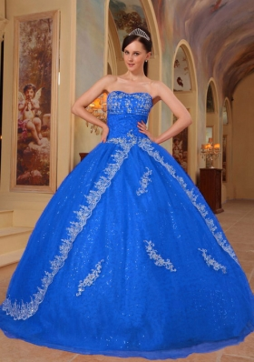 Blue Puffy Sweetheart for 2014 Lace Quinceanera Dress with Embroidery and Beading