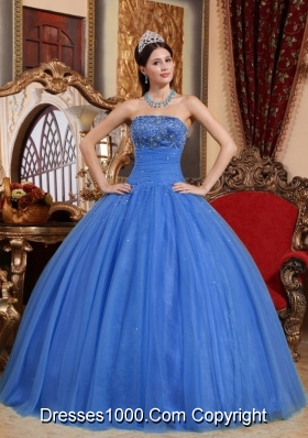Blue Quinceanera Dress Puffy Strapless with Embroidery and Beading for 2014