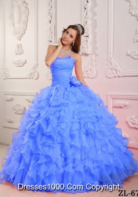 Blue Romantic Puffy Sweetheart Beading Quinceanera Dress with Hand Made Flower