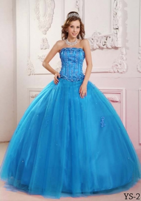 Elegant 2014 Teal Puffy Quinceanera Dress with Appliques and Beading