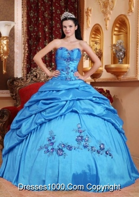 Exquisite Appliques Quinceanera Dress in Aqua Blue Puffy Sweetheart with Pick-ups