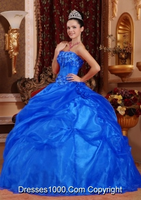 Inexpensive Puffy Strapless for 2014 Appliques Quinceanera Dress with Appliques