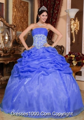 Modest Blue Puffy Strapless for 2014 Appliques Quinceanera Dress with Pick-ups