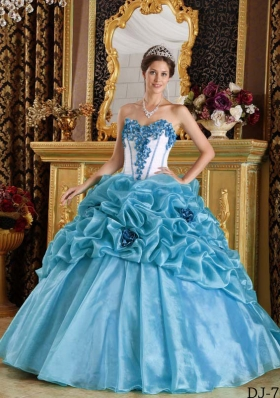 Perfect Blue Sweetheart Puffy Beading and Hand Made Flowers Quinceanera Dress for 2014
