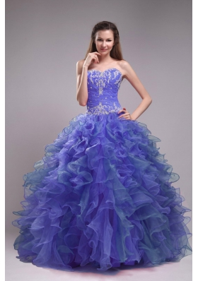 Sweetheart Blue Sweet Sixteen Dresses with Ruffles and Appliques