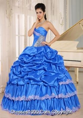 2014 Aqua Blue Beaded Appliques and Pick-ups Quinceanera Dress For Custom Made
