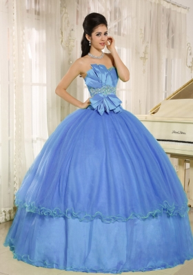 2014 Lovely Quinceanera Dress with Beading and Bowknot For Blue Custom Made
