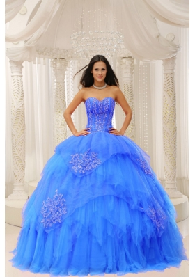 Custom Made Aqua Blue Sweetheart Ruffles and Embroidery For Quinceanera Wear In 2014