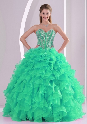 Green Ball Gown Sweetheart Ruffles and Beading Long Quinceanera Gowns in Sweet 16