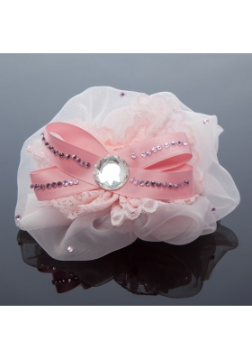 2014 Lace and Tulle Pink Hair Ornament with Rhinestone