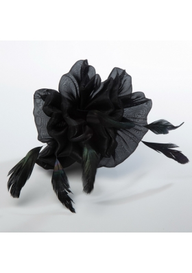 Affrodable Black Organza Fascinators with Feather