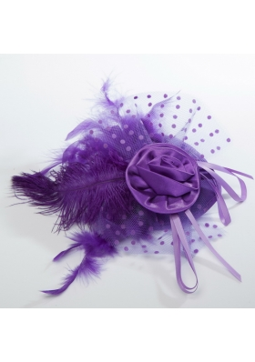 Beautiful Tulle Black and Purple Feather Hair Ornament