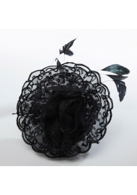 Cheap Feather Black Lace Fascinators for Wedding