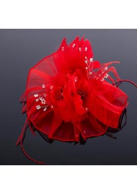 Elegant Feather Red Imitation Pearls Fascinators for Wedding