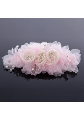 Elegant Imitation Pearls Pink Hair Ornament for Wedding