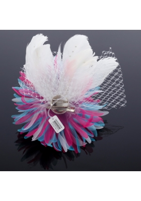 Elegant White Taffeta/Tulle Wedding Fascinators Hair Flower