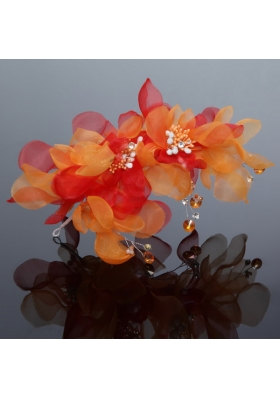 Imitation Pearls Organza Fascinators Pink Hair Flower