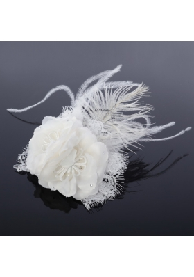 Lovely Lace Feather and Lace Outdoor Fascinators with Imitation Pearls