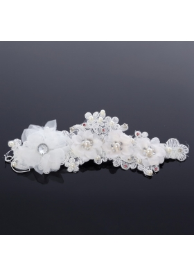 Simple Hairpins Imitation Pearls Birdcage Veils in White