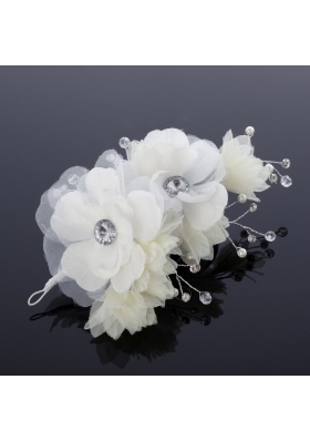 White Rhinestone and Pearl Fascinators for Wedding