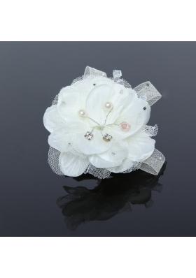 White Tulle Wedding Fascinators Hair Flower with Rhinestone
