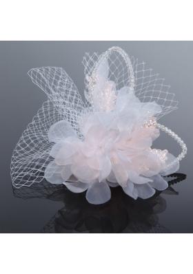 2014 Romantic Feather Pearl Tulle White Fascinators
