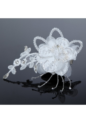 2014 White Pearl Lace and Feather Tulle Fascinators