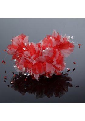 Beautiful Red Feather Pearl Feather Fascinators for Outdoor
