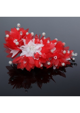 Imitation Pearls Tulle Outdoor Hair Ornament in Red