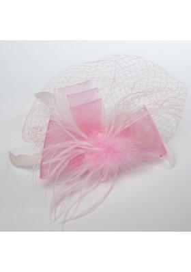 Pretty Pink Feather Tulle Net Yarn Briadl Hat