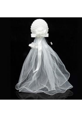 Simple Organza White Fascinators for Wedding