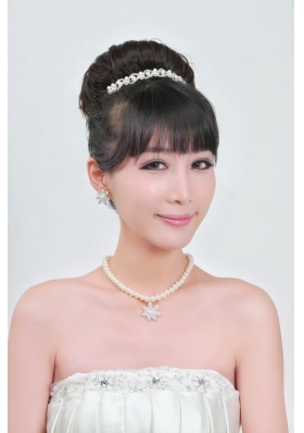 Ivory Pearl Two Piece Ladies Necklace and Tiara Jewelry Set